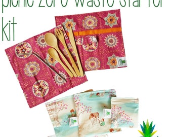 Zero waste picnic kit. Bamboo cutlery roll - steel straw - reusable snack and sandwich bags. Plastic free lunch, zero waste lunch.