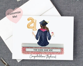 Birthday or Graduation Personalized Mother/'s Day Collage Calligraphy Card Set of 4 Handcrafted