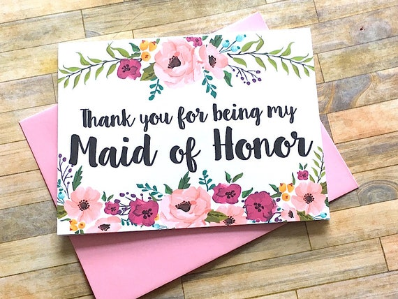 Maid Of Honor Thank You Card Thank You For Being My Maid Of Etsy