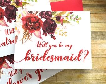 Bridesmaid Proposal Card - Will You Be My Bridesmaid Card - Wedding Card - Burgandy Red Watercolor Flowers - Bridesmaid - SANGRIA