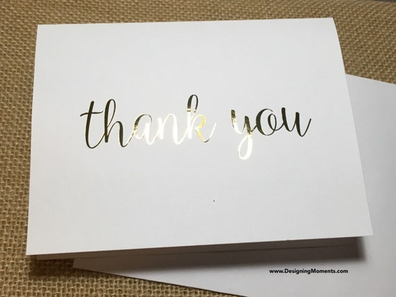 Wedding Thank You Cards - Real Gold Foil Thank You Cards - Gold Foil Stationery - Calligraphy Stationary - Wedding Thank You DM132