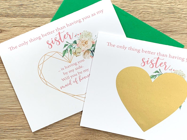 Will you be my Maid of Honor Floral Maid of Honor Card VICTORIA Scratch off Card for Sister Maid of Honor Proposal for Sister Card