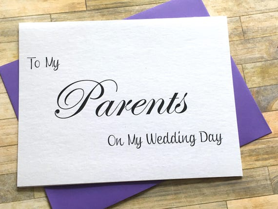 To My Parents On My Wedding Day Thank You Card Wedding Day Etsy