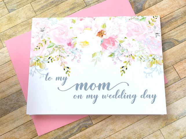 to my mom on my wedding day - card for mommy - wedding day card for mother - thank you mom watercolor blush