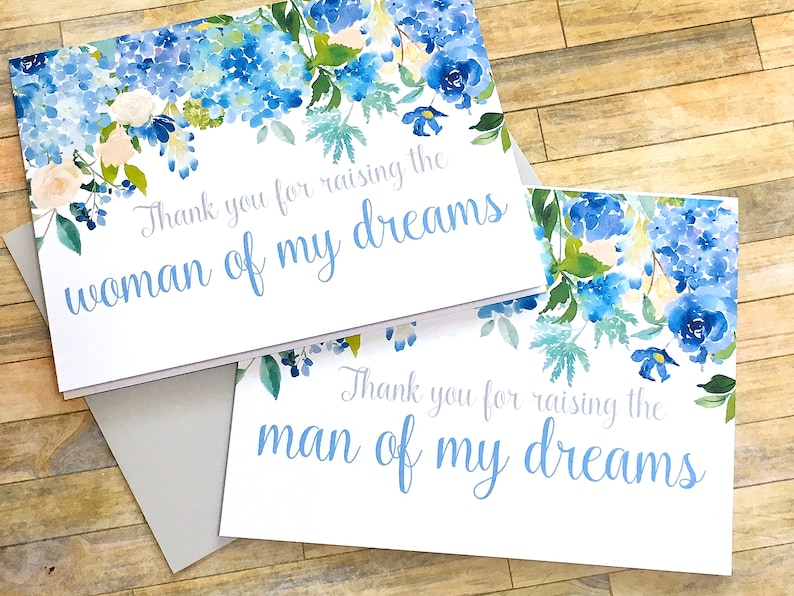 thank you for raising the man of my dreams card for mother in law wedding day father in law card ETERNITY hydrangea wedding cards