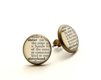 Sister Earrings Gift Jewelry Definition Birthday Wedding Bridesmaids Twin