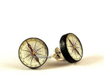 Antique Compass stud earrings, Old Compass earrings, compass jewelry, vintage compass earrings, mens earrings, Hypoallergenic earrings