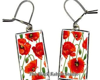 Poppy Earring, Red Poppy Earrings, Red Poppy Flowers, Red Poppy Art, Red Poppies, Red poppy Jewelry, Hypoallergenic Earrings