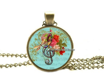 TREBLE CLEF Necklace, Treble Clef Pendant, Clef Jewelry, Music Necklace, G Clef Necklace, Music Pendant, Music Teacher Gift