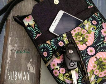 PDF patterns - SUBWAY Shoulder bag + Cross-body Bag ( 2 sizes ). Suitable for all. Detailed, easy to-follow instructions, lots of photos.
