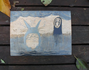Totoro and No-Face Cutting Board