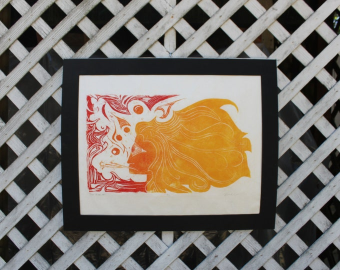 Fire In Her Eyes Woodblock Print
