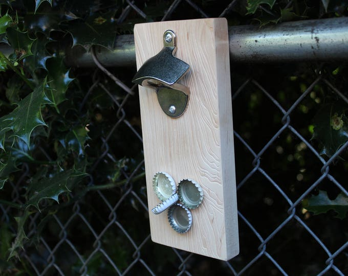 Natural Wood Magnetic Bottle Cap Catching Bottle Openers