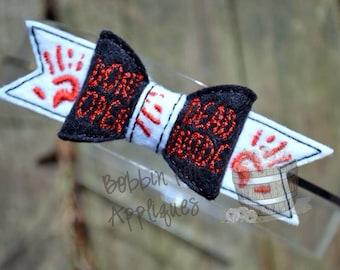 Dead Inside Zombie Inspired Bow Embellishment ITH In the Hoop Embroidery Design