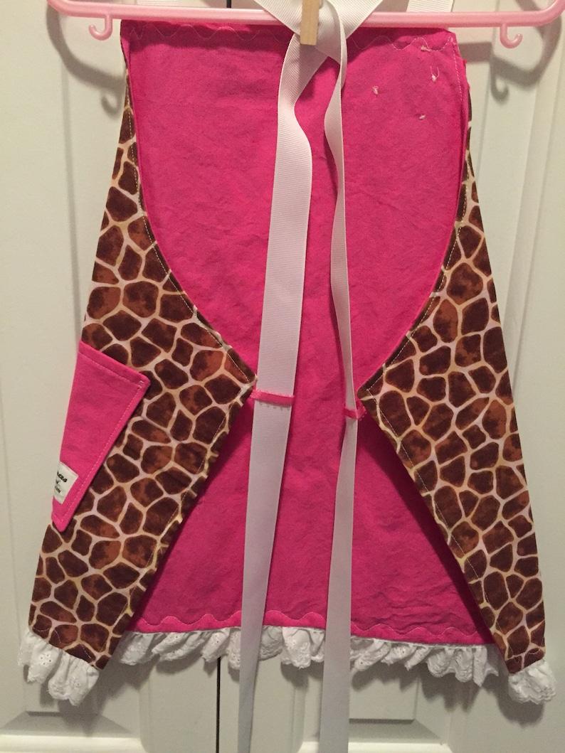 Little Girls Giraffe and Hot Pink Apron