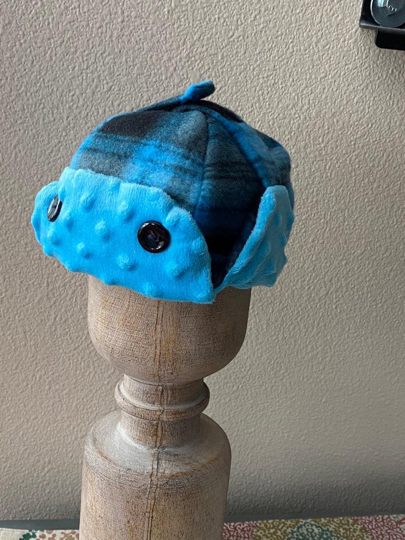 hat S 6-12 Mo Super soft Blue and Black plaid 6-12 Mo Aviator hat