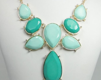 High Quality Gold Tone Statement Necklace, Turquoise Drop Bib Bubble Necklace, Swarovski Crystal Chunky Necklace, Valentines Gift-118008585