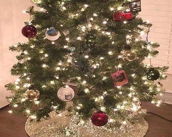 silver christmas tree skirt etsy - Christmas Tree Skirts Etsy