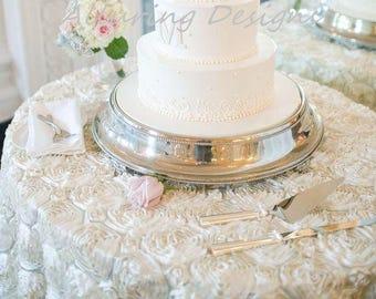 Rosette Linens Tablecloth Linen Runner Overlay Wedding Event Party Anniversary Shower Bridal Reception Decor Cake Sweetheart Rose