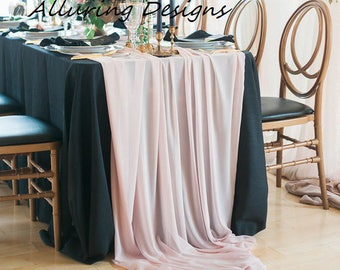 Romantic Chiffon Linens Tablecloth Runner Overlay Wedding Event Party Anniversary Shower Bridal Reception Decor Cake Sweetheart Table Farm