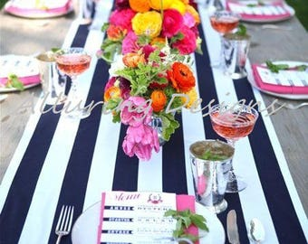 Navy White Striped Linens Tablecloth Runner Overlay Wedding Event Party Anniversary Shower Bridal Reception Decor Cake Sweetheart Table