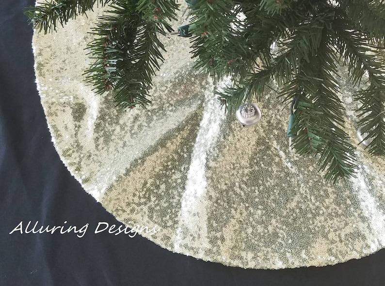 Sequin Tree Skirt  Holiday Christmas Tree Skirt Sparkly Tree Christmas Decorations Glitter Sparkle Glitz Shine Ornaments Gift
