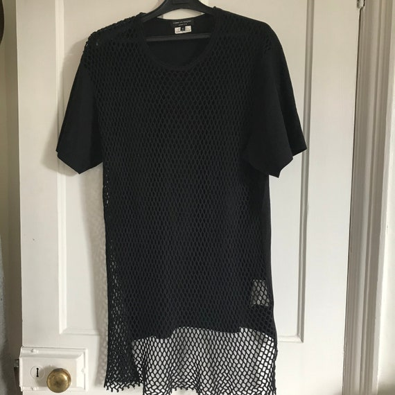 Commes des Garcons Mens T shirt Black fishnet
