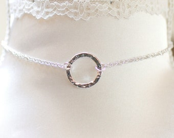 Submissive Sterling Silver Day collar, Collar BDSM, Discreet Day Collar Hammered O Ring,
