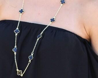 2671b0579 Quatrefoil Clover Long Statement Necklace - Black