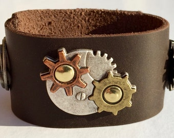 Leather Cuff Bracelet - Steampunk - Stoned Oil Cowhide - MADE TO ORDER