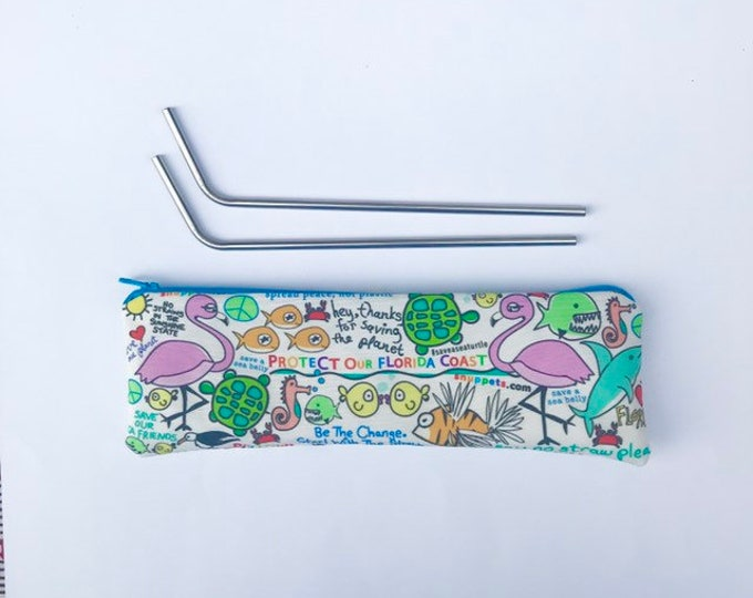 Reusable Straw Pouch - 2 Stainless Straws included / NEW FLORIDA Design