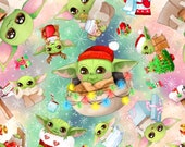 PREORDER Christmas Baby Alien Fabric by the Yard Quilting Cotton Organic Knit Jersey Minky Green Santa Stocking Winter Snow hat tree gift