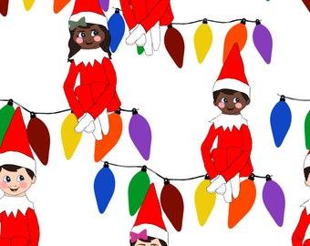 Father Christmas Elf Pixie Santa green trees cute 100/% Cotton Fabric HALF METRE