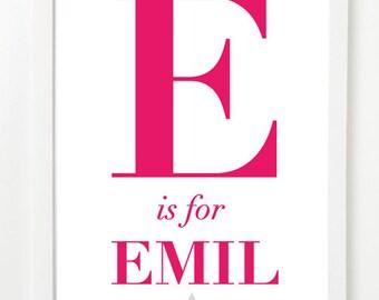 A4 Typographic Print Child Name