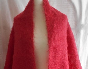 Fabulous Very Large Vintage Coral Mohair Stole Scarf Shawl 1950s