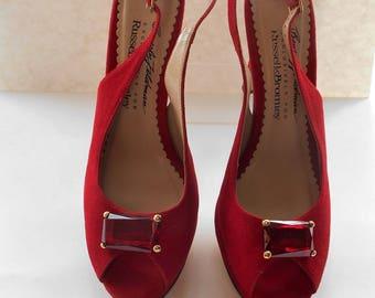 4ffe51c15ae6 Vintage Beverly Feldman Jewelled Platform Red Suede Evening Party Shoes  High Heels UK 6.5 US 8 1 2