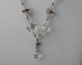 Art Deco Faceted Crystal Necklace with drop