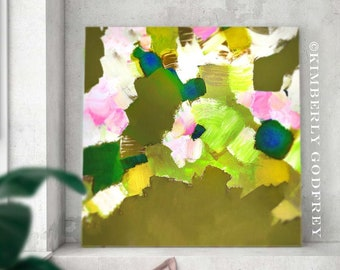 Avocado Blossom Abstract Fine Art Print, Grey Pink Room Aesthetic, Chic Home Decor, Mustard Yellow Floral Wall Art, UK