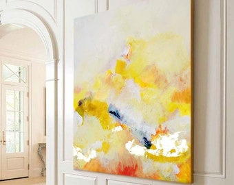 Abstract Yellow & Light Blush Art Print, Embellished Canvas, Gold Leaf Canvas, Office Decor, Modern Painting, Living room Wall Art