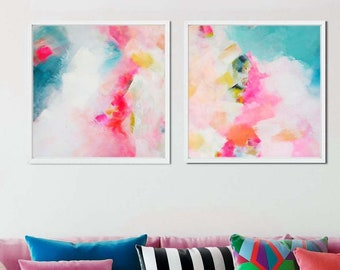 Key West Sky Abstract Art Print Set, Modern Home Decor, Large Embellished Pink Paintings, Oversized Wall Art
