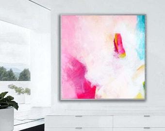 Abstract Fuchsia Fine Art print, Home Decor, Interior Design, Modern Pink Painting, Wall Art UK