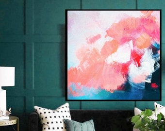 Pink Hydrangea Abstract Art Print, Contemporary Home Decor, Bright Modern Wall Art, British Artist, UK