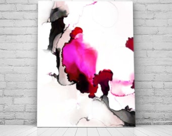 Contemporary Abstract Fine Art Print, Sheer Petals, Home Decor, Interior Design, Hot Pink Floral Art, Ink painting