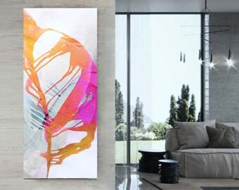Pink Abstract Fine Art Giclee Print, White Home Decor, Long Narrow Modern Wall Art, UK