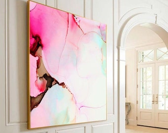 Cherry Blossom Pink Abstract Fine Art Print, Modern Beautiful Interior Design, Unique Marble Original Wall Art, UK