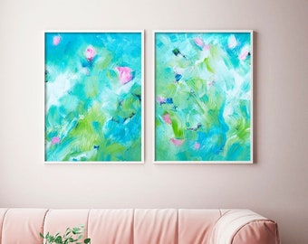 Windermere Gardens Set of Fine Art Prints, Abstract Expressionism, Teal Blue Home Decor, Unique Wall Art, British Artist