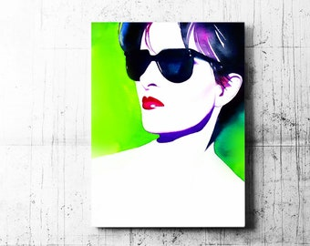 Fashion Illustration 1980s Glamour Art Print, Watercolour Painting in Lime Green, Punk Rock, New Wave Hairdo, Salon Decor