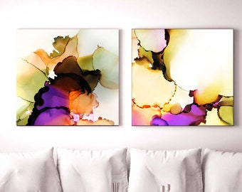 Persimmon Petals Set of Colorful Abstract Art Print, Violet Floral Ink, Modern Interior Design, Livingroom Decor, Orange & Greens