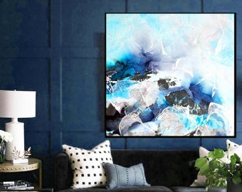 Large Cobalt Blue Abstract Canvas Print, Indigo Painting, Silver Home and Office Decor, Modern Wall Art, UK