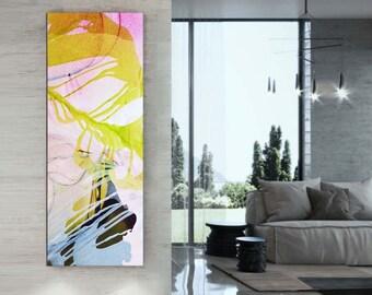 Gold Abstract Narrow Art Print, Sunset Flower, Contemporary Home Decor, Interior Design, Yellow Wall Art